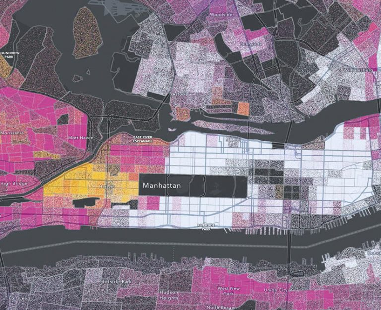 A dark gray map of New York City with clusters of pink, orange, and yellow dots representing different racial and ethnicity groups