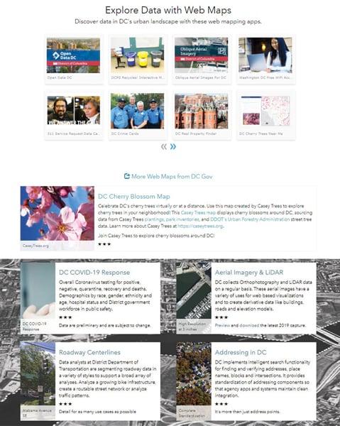 The City of Washington, DC's ArcGIS Hub site