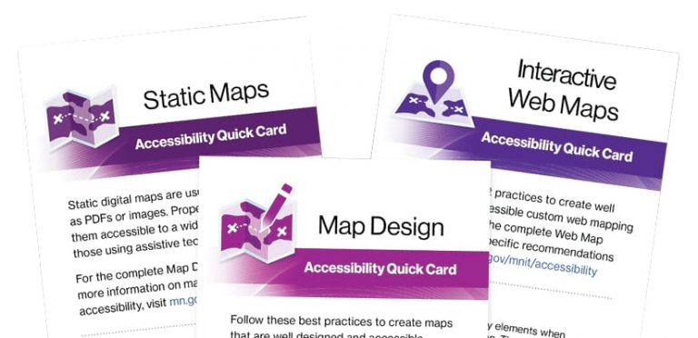Three accessibility quick cards for static maps, map design, and interactive web maps