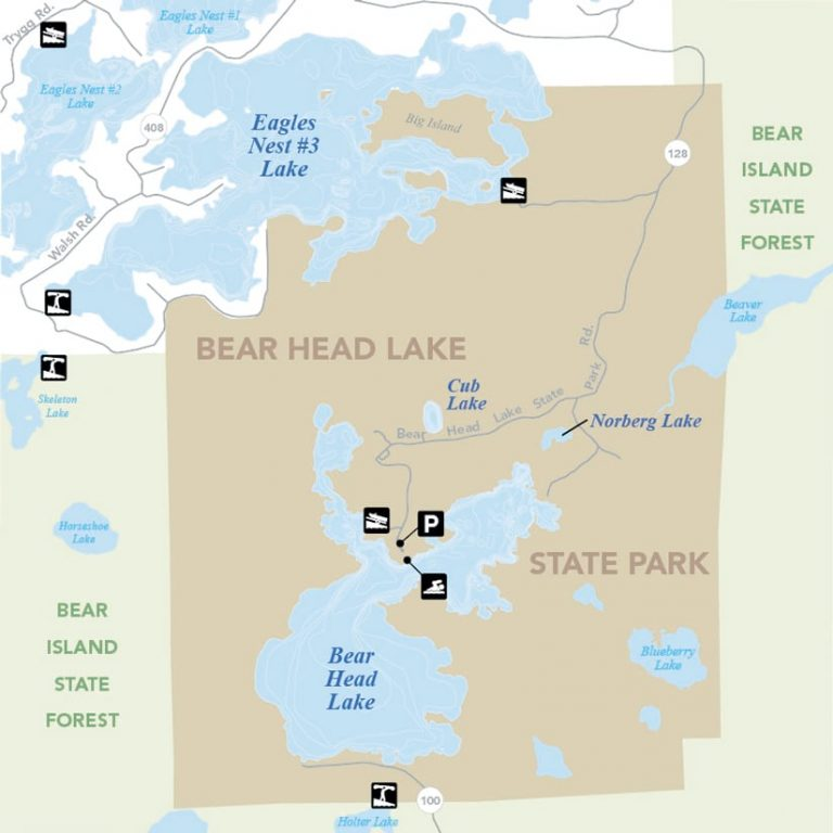 A clearly labeled map of a state park and forest with lakes, where brown represents the park, green represents the forest, and blue represents the lakes