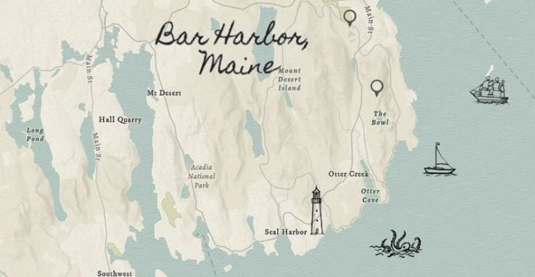 A map labeled Bar Harbor, Maine, that shows landmarks, such as a lighthouse, and illustrations in the ocean, such as an octopus and some ships
