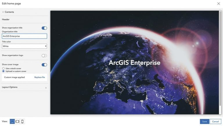 The home page editor in ArcGIS Enterprise showing a header that says ArcGIS Enterprise and a custom cover image that's the earth from space with the sun rising over the horizon