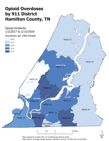 A map of the rate of opioid overdoses in each 911 district from January 3, 2017, to February 15, 2019, in Hamilton County