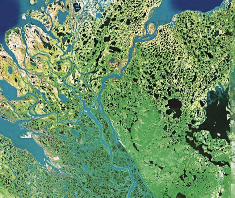 A high-resolution image of rivers and lakes with green land all around