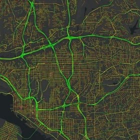 A map showing transportation routes
