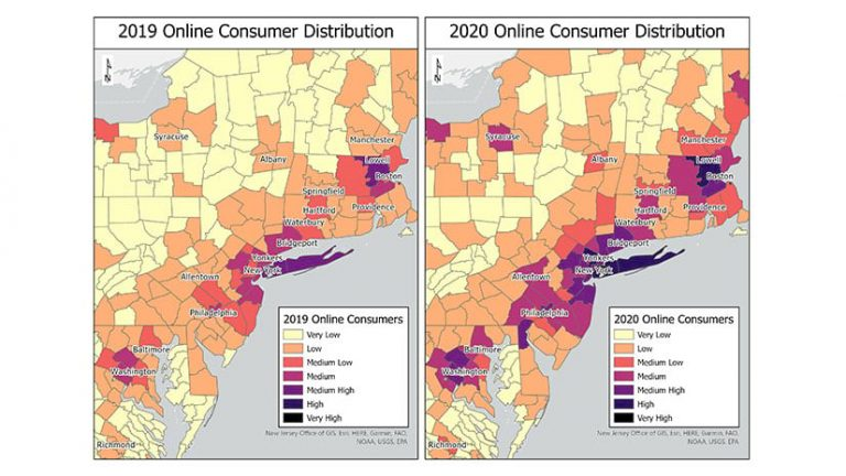 A map of customer data showing online sales in 2019 versus 2020