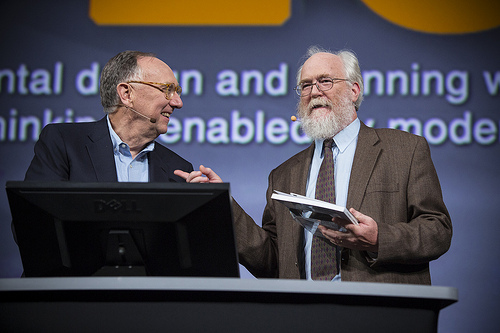 Stephen Ervin (right) accepts the prestigious Lifetime Achievement Award at the  2012 Esri User Conference for his pioneering work integrating GIS and design.