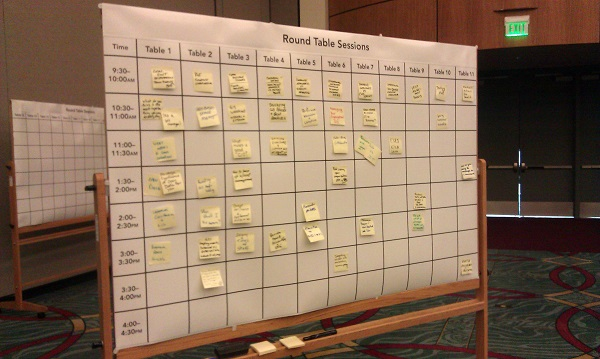"""Unconference"" agenda board at the 2013 GIS Managers' Open Summit"