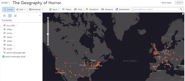 The Geography of Horror Web Map