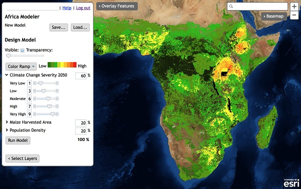 African Landscape Modeler - Analyzing areas of high maize production with a dependent population, which is prone to climate change.