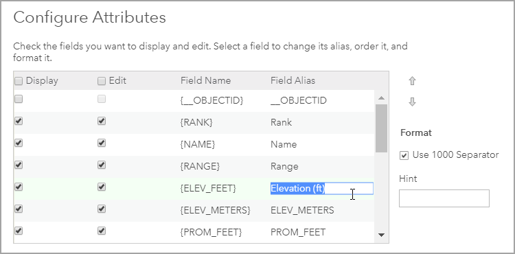 Configure Attributes panel