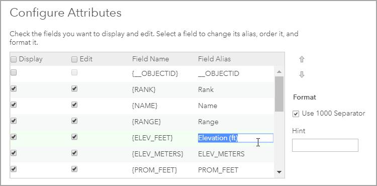 Configure Attributes panel