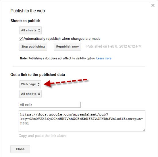 Image of Publish to the web dialog