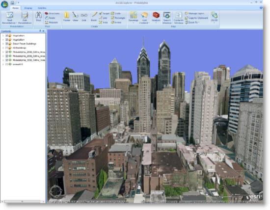 Philadelphia 3D services in ArcGIS Explorer Desktop