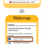 "Figure 1: What you see in your MXD's legend is what appears in your web map.  Avoid cryptic file names, field names and legend labels that report numbers but not context.  The legend in this example uses qualitative phrasing (e.g. ""Great Increase"") as well as numeric (e.g. ""More than 1.5%) because the audience likely has no idea what constitutes significant increases or decreases."