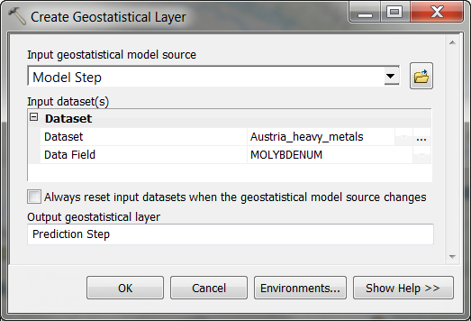 Create Geostatistical Layer geoprocessing tool