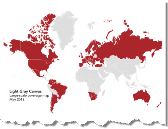 Countries in red have additional detail from 1:72k scale to 1:9k scale