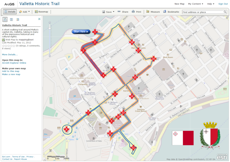 Valetta Historical Trail web map