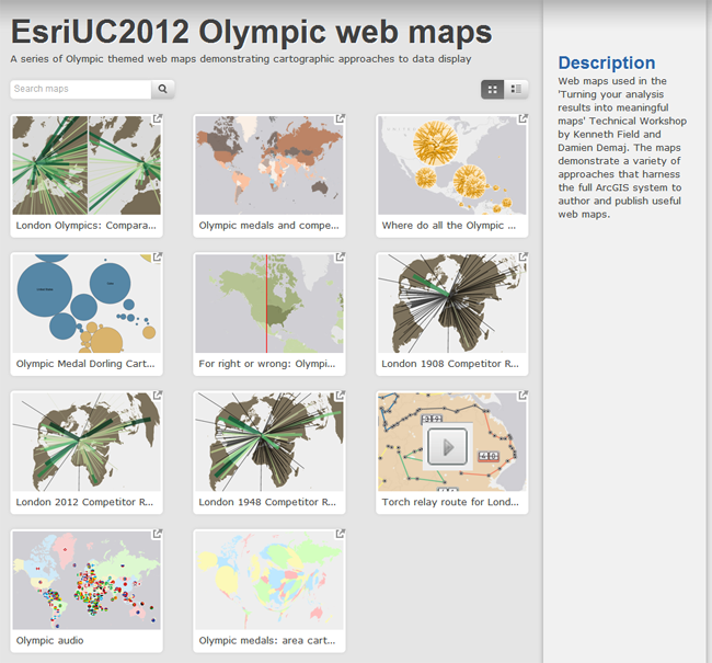 Online Public Gallery template for the collection of Olympic themed maps