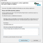 ArcGIS Error Report dialog box