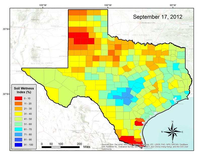 Soil moisture mapping of drought in texas arcgis blog for Soil temperature map