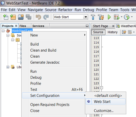 Set up your Netbeans project to run as with Java Web Start