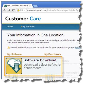 Esri Customer Care Portal Software Download link