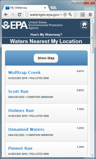 Waters nearest my location