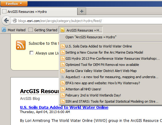 ArcGIS Resources >> Hydro Feed