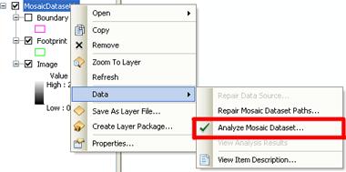Analyze mosaic dataset context menu