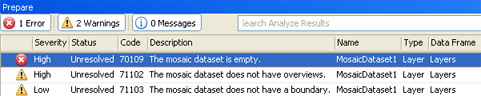 analyze results window