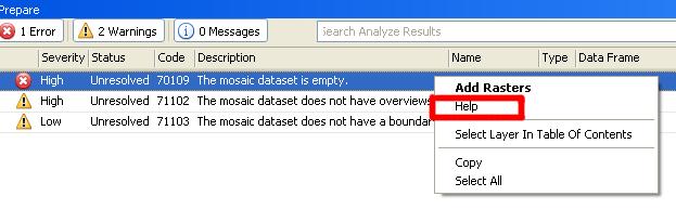 Help context menu for error message