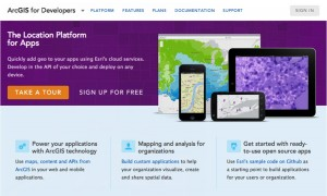 Screenshot of the developers.arcgis.com home page