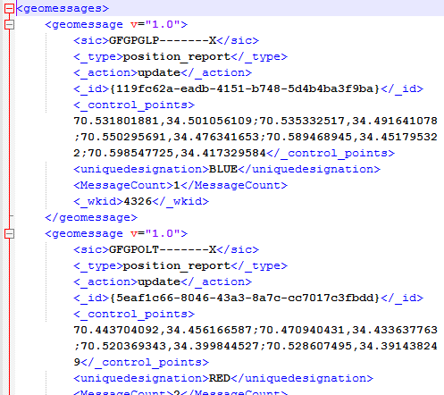 Sample XML geomessages of military features