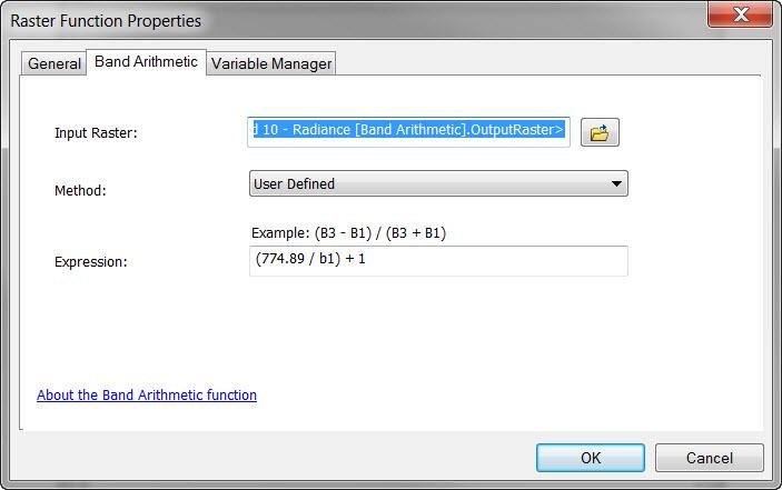 converting radiance to kelvin - natural log input