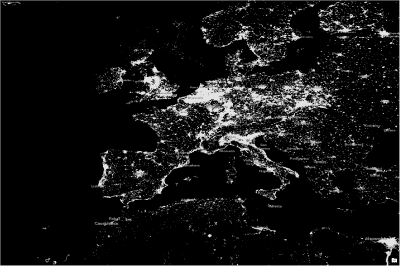 nighttime lights with threshold applied - europe