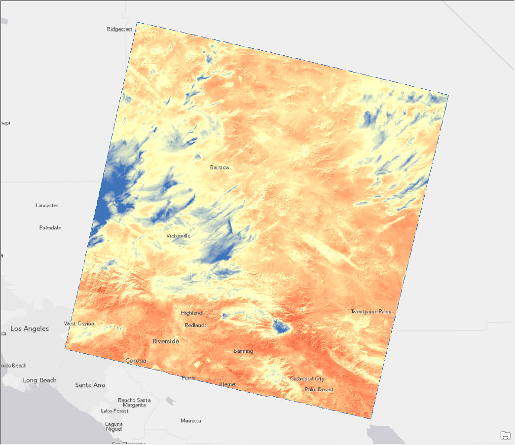 land surface temperature redlands, california