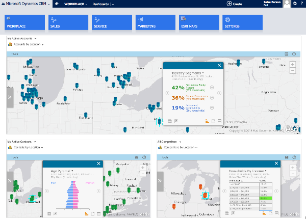 Dashboard view of Esri Maps in Microsoft Dynamics CRM