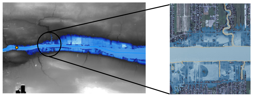 The flood depth raster file generated by the models overlaid on a city map.