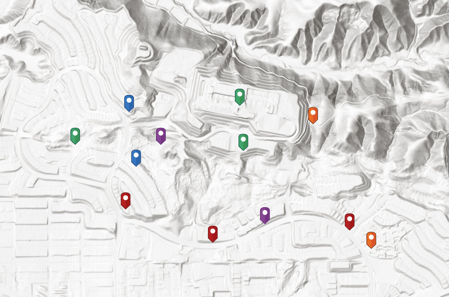 Mapping point data in urban environments where Lidar derived elevation is available. Chino Hills, California (USA)