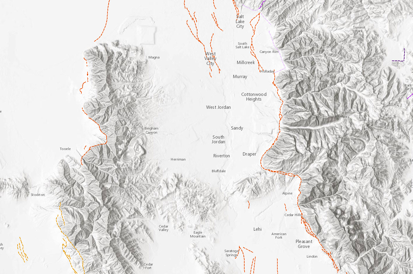 Identifying the location of the USGS earthquake faults over Utah (USA).