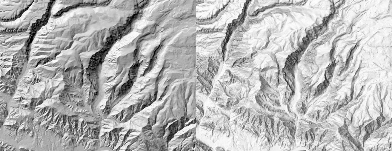 Figure1: single direction vs multi-directional hillshade comparison