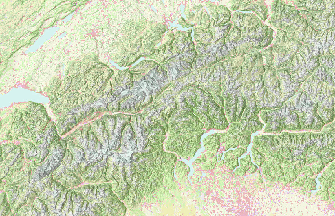 Visualizing landcover in The Alps