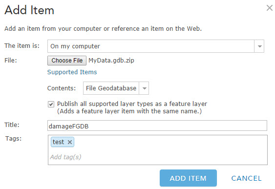 arcgis online add file geodatabase relationship
