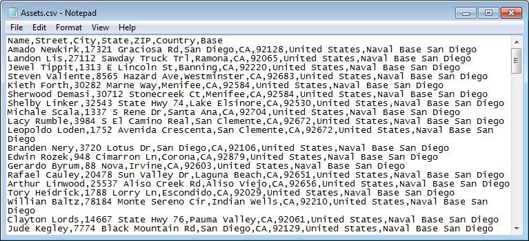 Sample Assets File