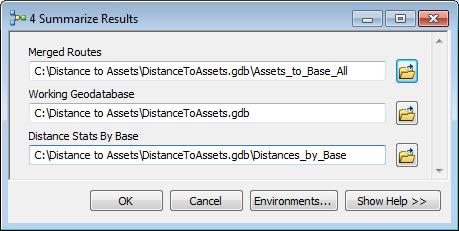 Summarize results tool dialog box