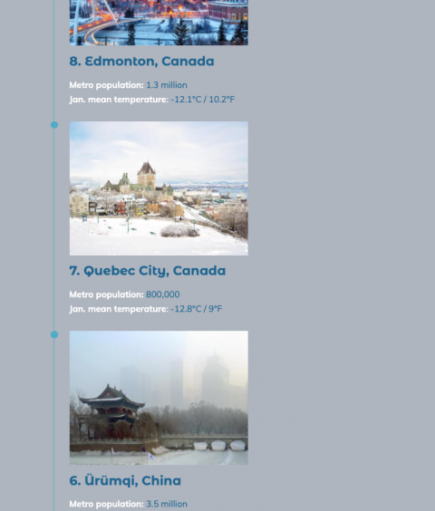 Excerpt from a StoryMaps timeline block depicting a list of the world's coldest big cities