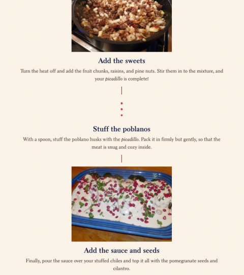 A sample from a StoryMaps story showing a recipe in timeline form