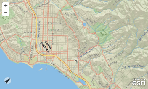 Rotated map to align Santa Barbara road network