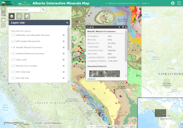 Alberta Interactive Minerals Map with Open Data Link in Popup